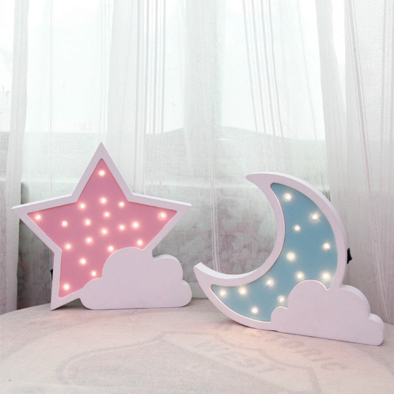 Wooden Moon Led Night Light Lovely Star Wall Lamp Bedside 3D Light Nightlight Room Home Decorative Indoor Lighting IY304123-17 ...