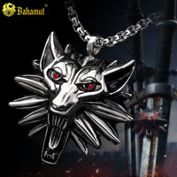 The Witcher 3 III Wild Hunt Wolf Medallion Geralt Of Rivias Necklace RED EYE Titanium Steel