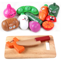12 Pcs/Set Wooden Fruit Vegetable Expressions Kitchen Cutting Toy Early Development and Education Toy for Kids Baby