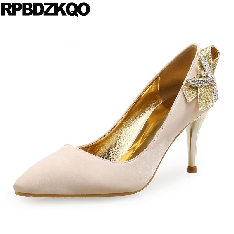 Pumps Gold Bridal Shoes Big Size Pointed Toe Ladies Golden Satin Rhinestone  Wedding Metal Scarpin Glitter Crystal High Heels 7a18bd4923fd