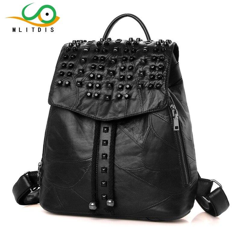 MLITDIS 2017 new winter sheepskin leather shoulder bag female Korean fashion tide rivet internal spacer bag