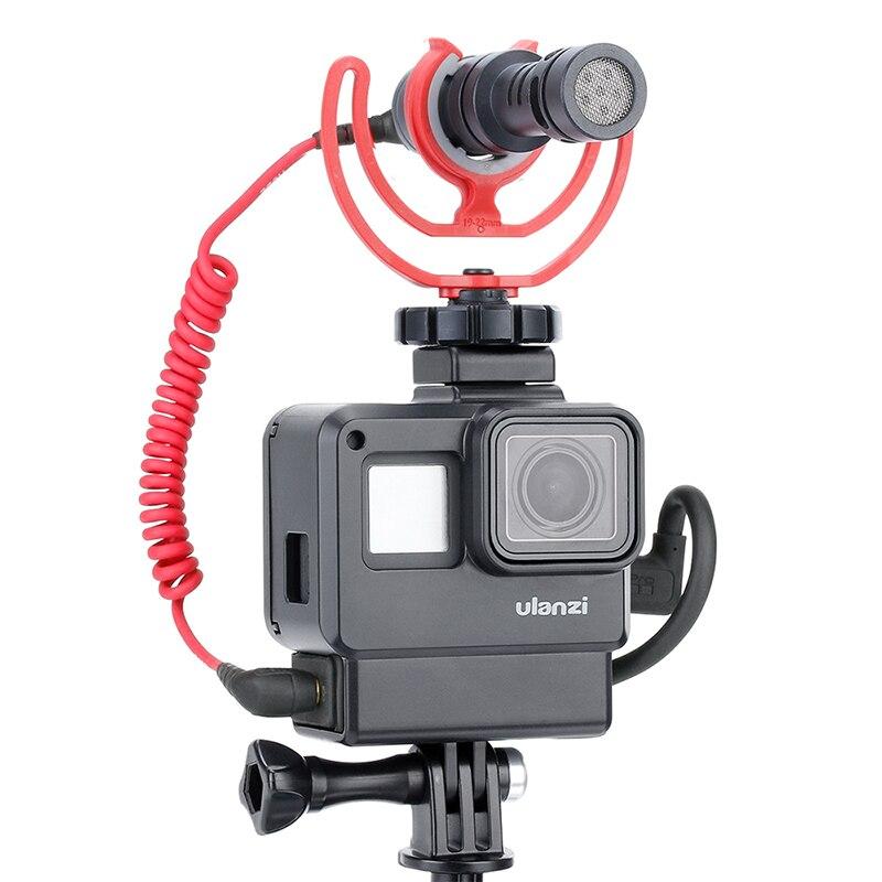 ULANZI V2 Vlog Gopro accesorios para GoPro héroe 7 6 5 carcasa de plástico con extensión micrófono Puerto frío zapato montaje de Vlogging