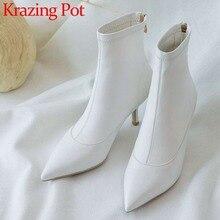 Botas de piel auténtica estilo europeo para mujer, zapatos de tacón alto y delgado, puntiagudos, con cremallera, color blanco y negro, L27