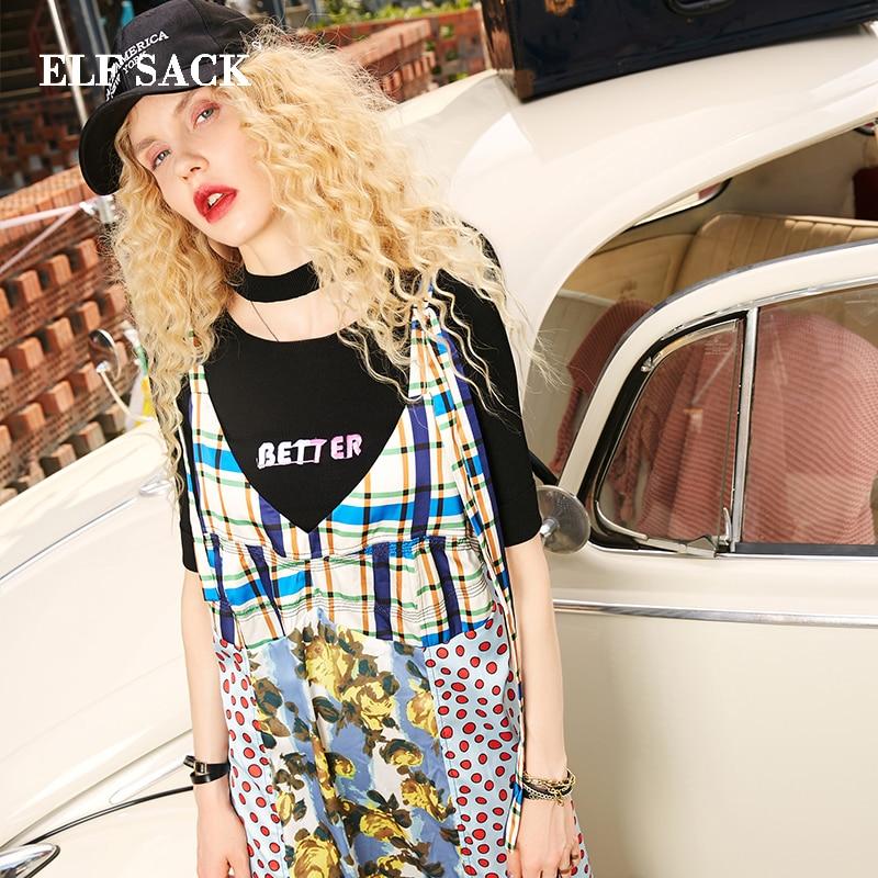 ELF SACK Autunm New Fashion Woman Dress Cotton Casual Straight Dot Women Dresses Lace Sleeveless Female