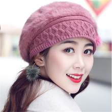 55a25b1e3d5 Women s Rabbit Hair Ear Care Brushed Warm Knitted Hat Winter Beret Warm  Beanies Fleece Inside Fashion Knitted Hats For Ladies