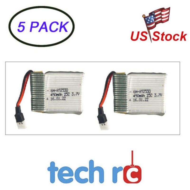 5Pack 3.7V 450mAh Charging Li po Battery 852530 51005 2P Connector Remote Control Toys Parts & Accs 2PCS/pack