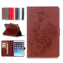 LUCKBUY Case For iPad mini1 mini2 mini3 7 3D Embossed flower PU Leather TPU Stand Wallet Flip Book Cover mini1/2/3