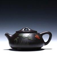 Yixing Teapot Black zhu debris gourd ladle pot stone Gourd ladle Capacity Purple Clay Tea Pot Cup Kettle Handmade 220ml