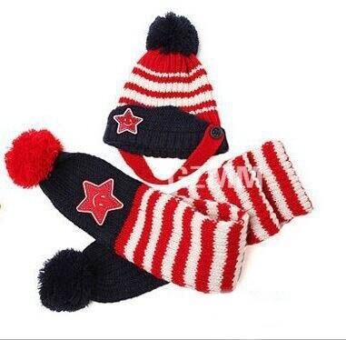Новинка; Милая зимняя Детская шерстяная шапка с пентаграммой; Милая зимняя шапка с ушами и улыбающимся лицом; теплая шапка с рукавами для малышей; шарф; головной убор; комплект - Цвет: A