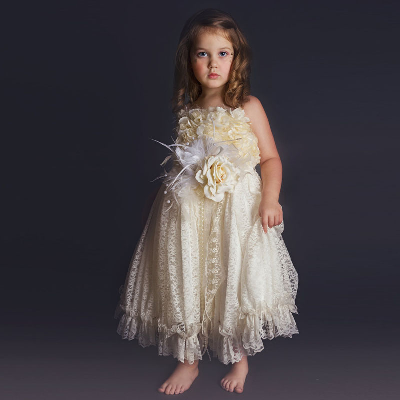 2017 New Arrival Flower Girl Dresses A-Line Ruffles Lace Spaghetti Straps Sleeveless Ankle Length First Communion Pageant Gowns new white ivory nice spaghetti straps sequined knee length a line flower girl dress beautiful square collar birthday party gowns