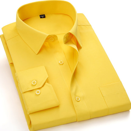 Motivated Purple Red Yellow Plus-size 5xl 6xl 7xl 8xl Formal Business Easy-care Dress Men Shirt Casual Soft Comfortable Pure Color