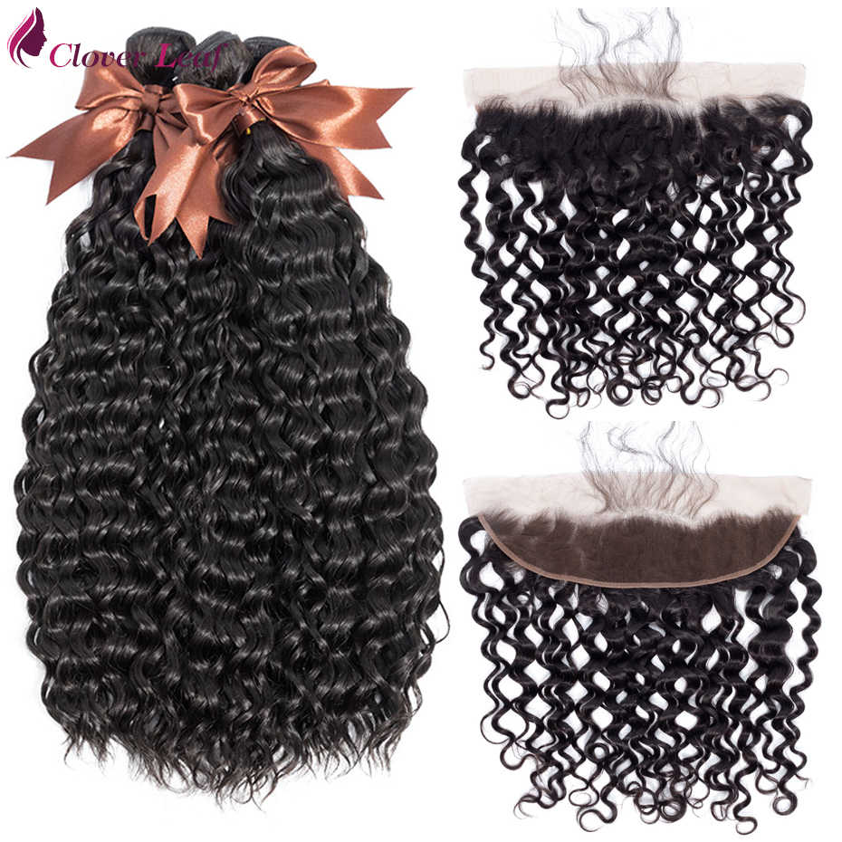 Clover Leaf Water Wave Hair 3 Bundles With 13*4 Lace Frontal Brazilian Human Hair Weave With 13X4 Lace Frontal Closure Remy Hair