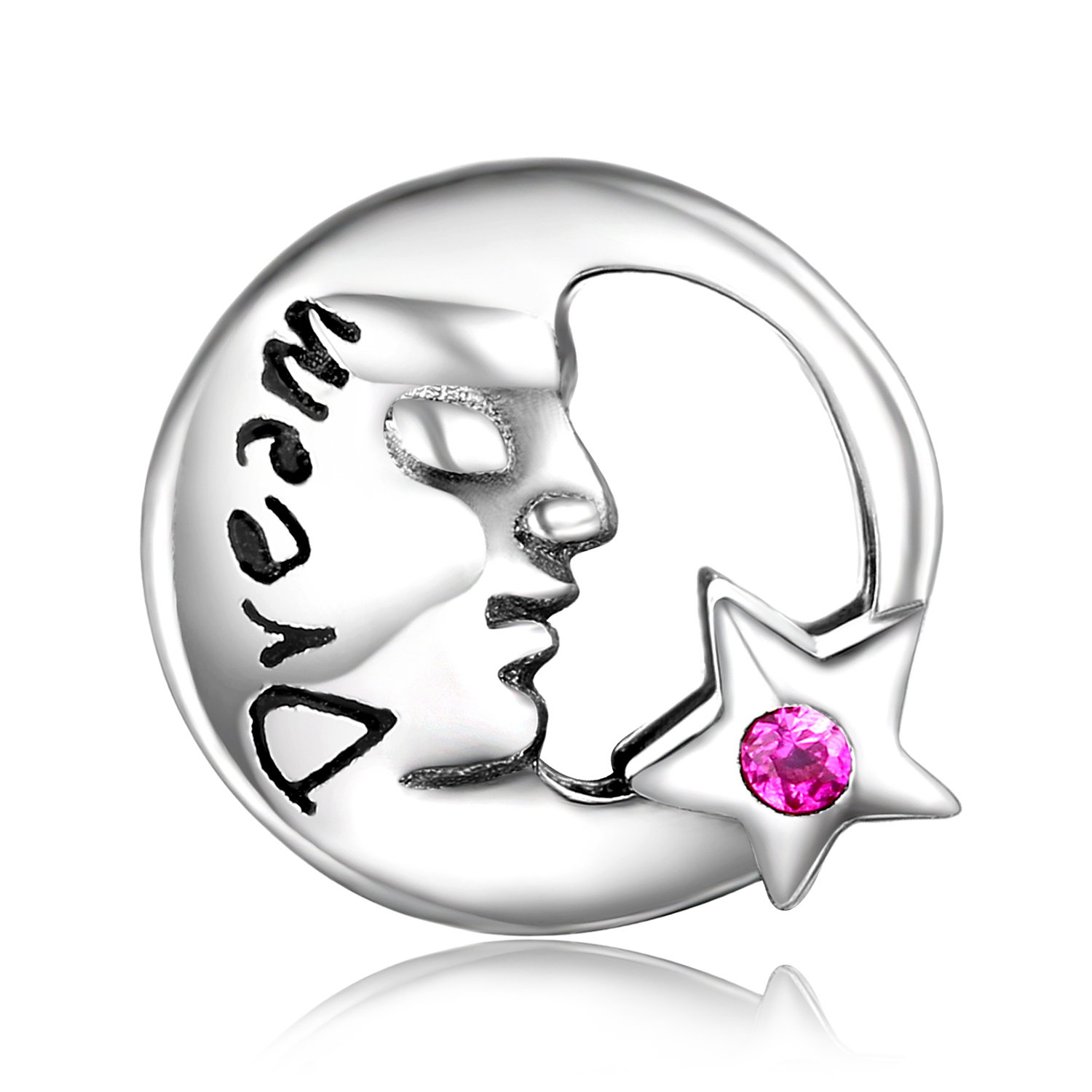 JewelryPalace Moon face 925 Sterling Silver Beads Charms Silver 925 Original For Bracelet Silver 925 original For Jewelry Making in Beads from Jewelry Accessories