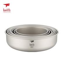 Keith Outdoor Titanium Bowl Pan Plate Camping Hiking Climbing Tableware Cookware 300ml-900ml