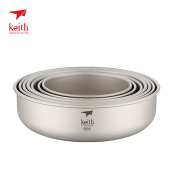 Keith Outdoor Titanium Bowl Pan Plate Camping Hiking Climbing Tableware Cookware 300ml-900ml keith 550ml titanium bowl ultralight camping travel tableware single wall and double wall pure titanium bowls for choose