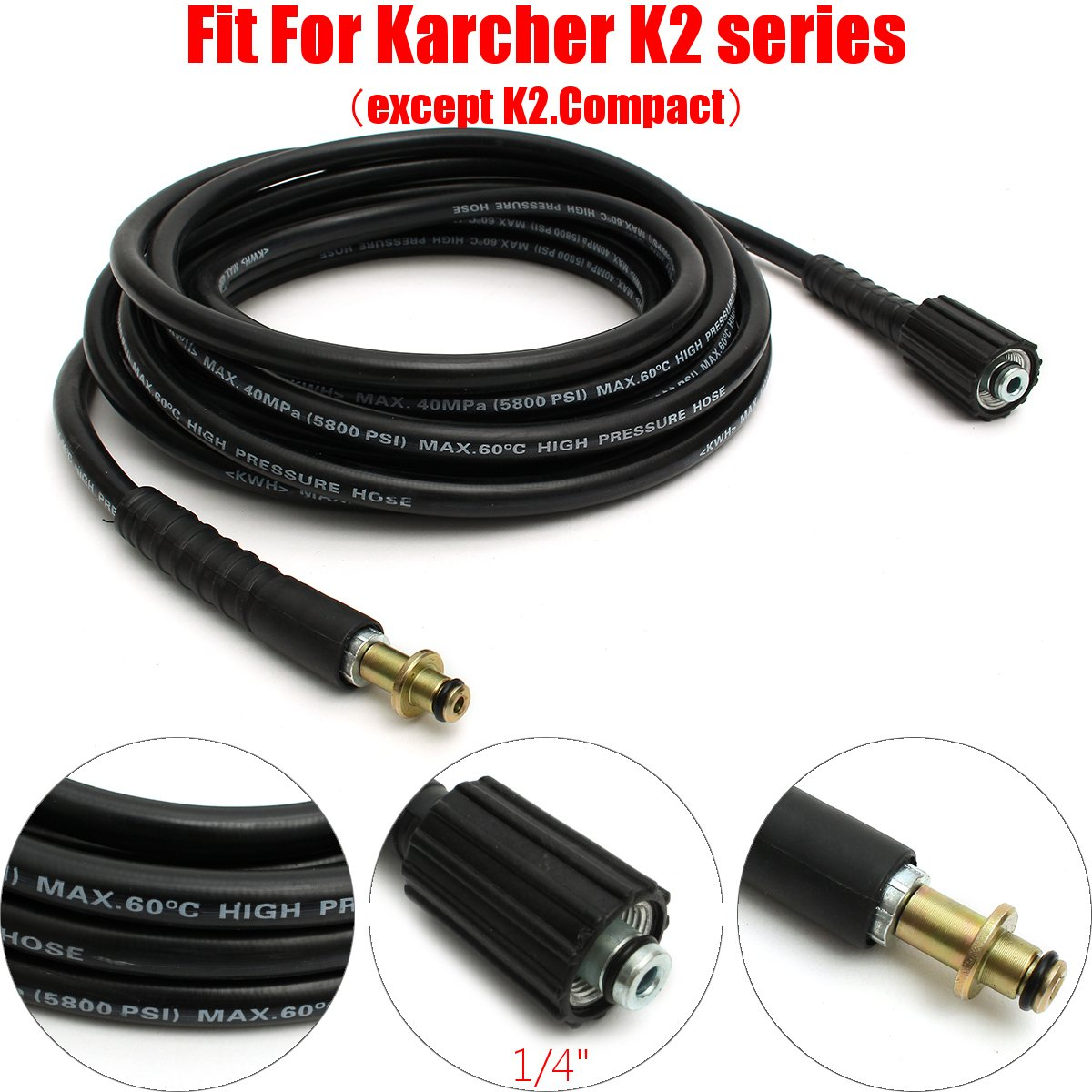 7.5m Pressure Washer Hose 5800PSI 22mm Pump End Fitting for Karcher K2 Cleaner ...