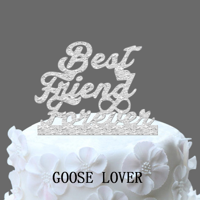 Wedding Cake Topper Monogram Best Friend Forever With Infinity Seymbol Funny Elegant Unique