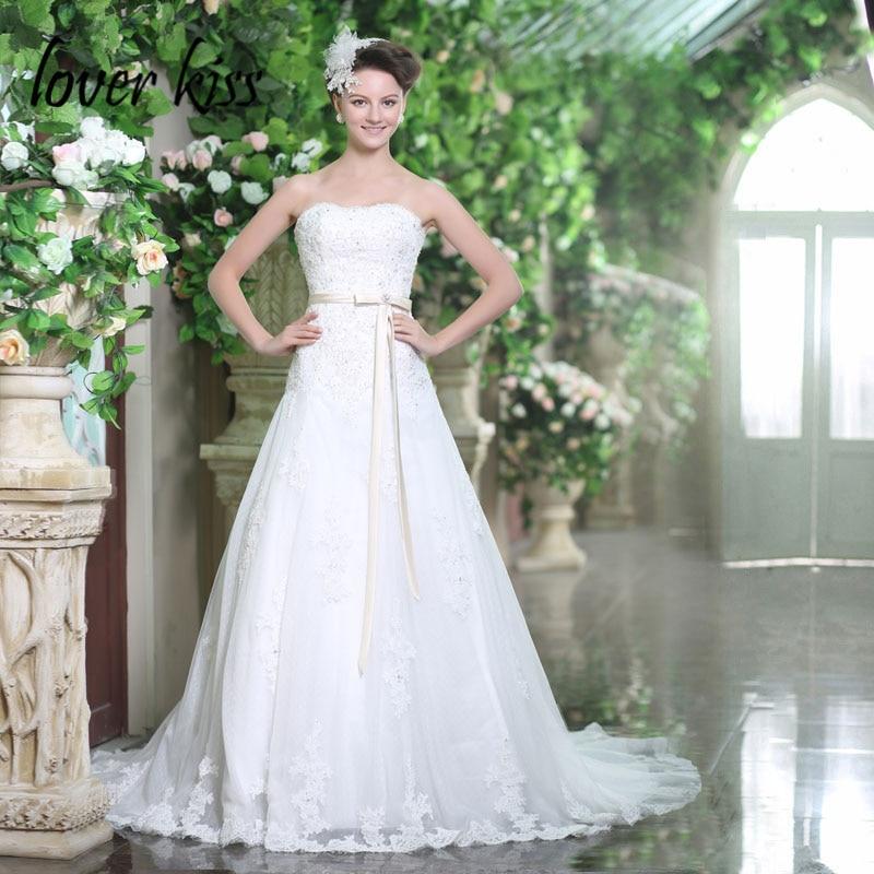 Lover Kiss Robe De Mariage Strapless Lace Wedding Dress