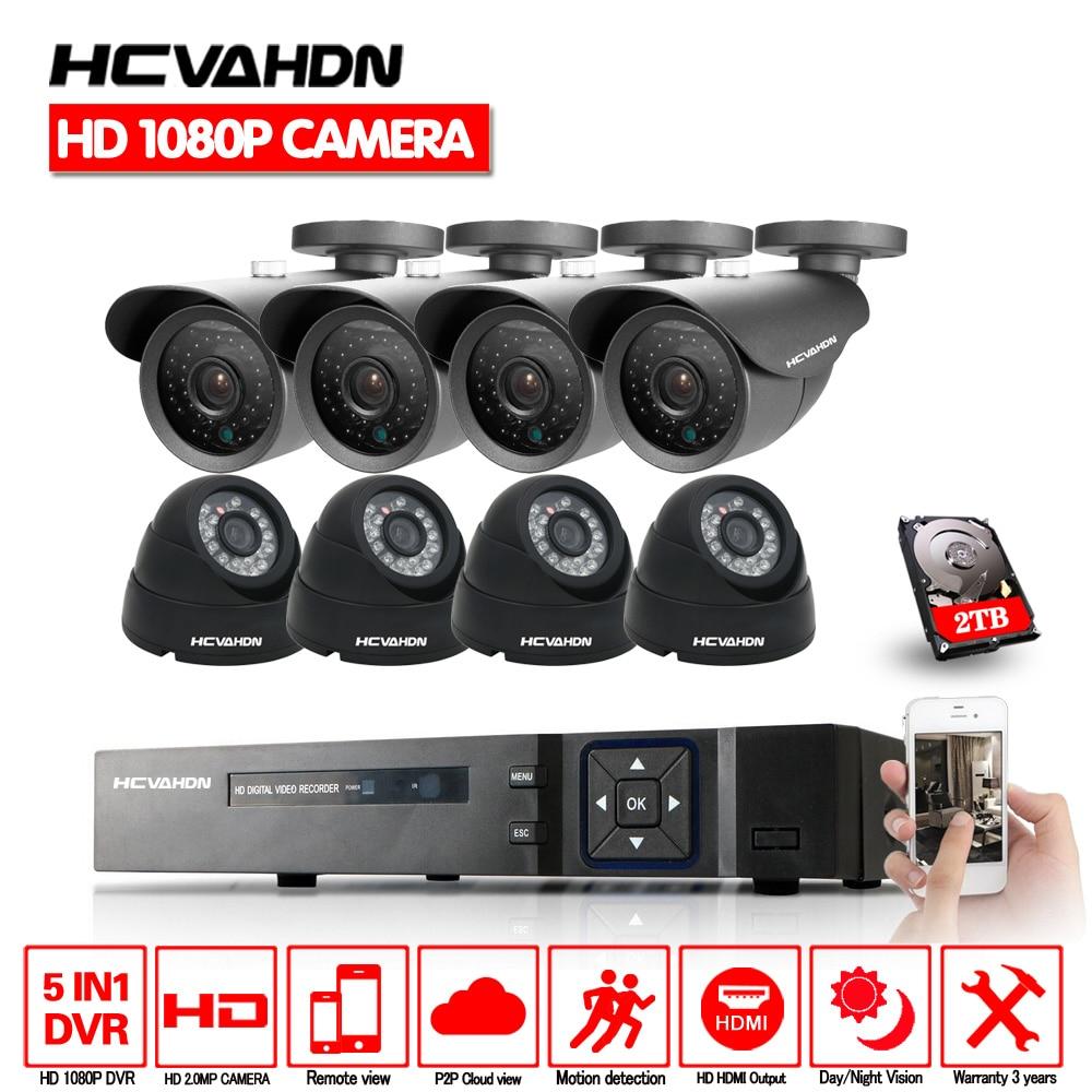 HD Canal Sistema de Vigilância Em Casa 8CH 8 3000TVL 2.0MP Kits AHD DVR 1080 p CCTV Sistema de Segurança Câmeras 1 tb HDD cctv câmera ajustada