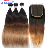Vip beauty ombre bundles with closure Brazilian straight hair bundles with closure non remy hair 3 bundles with closure #1b/4/27