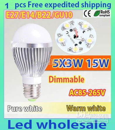 1pcs/lot Retail Dimmable Bubble Ball Bulb AC85-265V 15W E14 E27 B22 GU10 High power Globe light LED Light Bulbs Lamp Lighting