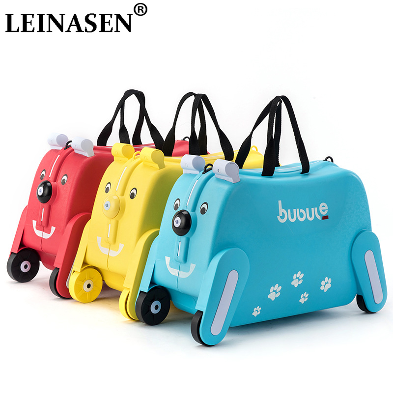 Ride-on Suitcase for kids Carry on Rolling luggage suitcases riding trolley bag for kids wheeled travel baggage for Children earrings