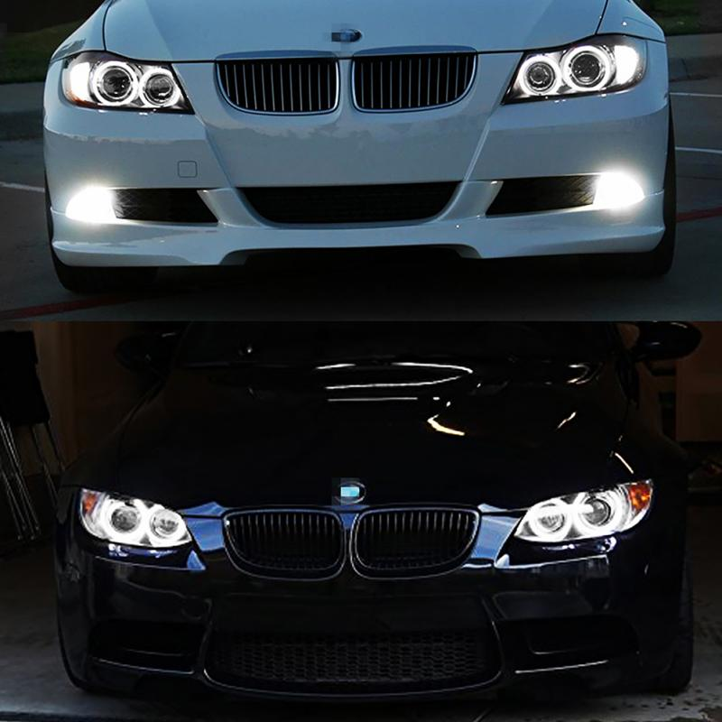 2pcs Deluxe Carbon Fiber Front Head Light Covers Eyelids Eyebrows For BMW F30 SU