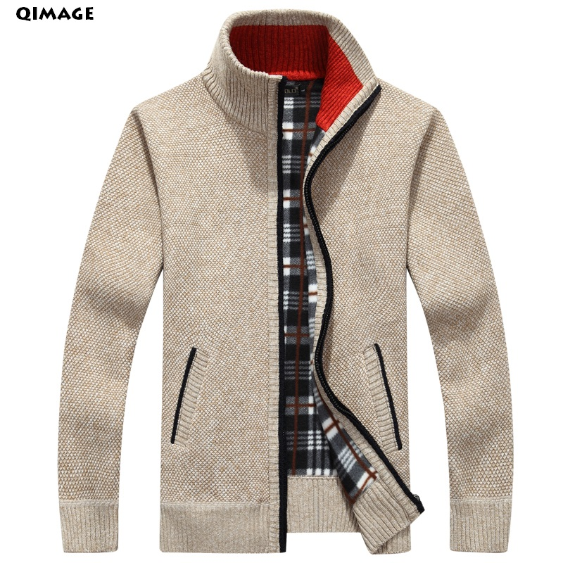 QIMAGE 2019 Men's Sweaters Autumn Winter Warm Cashmere Wool Zipper Pullover Sweaters Man Casual Knitwear Plus Size M-XXXL