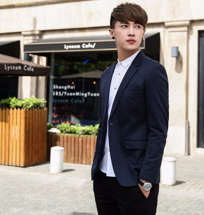 36.1 Latest men\'s suit jacket pure color small a grain of buckle formal business interview suit dinner parties tailored suit jacket