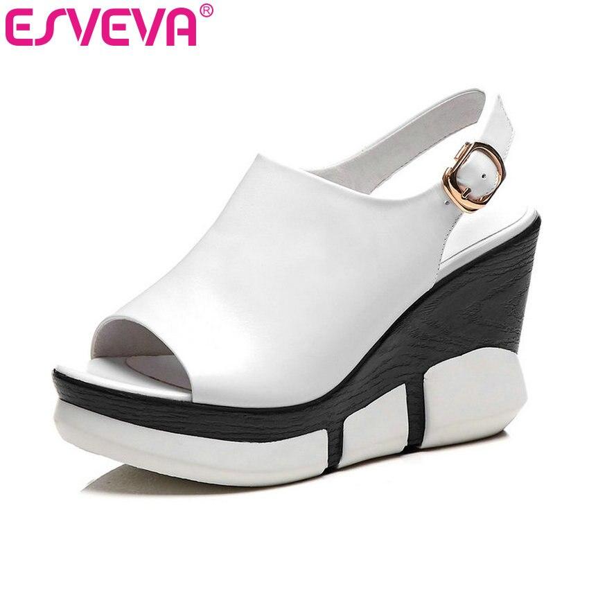 Ayakk.'ten Yüksek Topuklular'de ESVEVA 2019 Kadın Sandalet Kama Med Topuk Koyun Derisi Peep Toe Ayak Bileği Kayışı Slingback Yumuşak Eğlence Moda Bayan Ayakkabı Boyutu 34  39'da  Grup 1