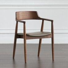 Nórdicos de comedor de madera maciza silla Kennedy silla President Hiroshima Silla de salón de té restaurante reunión para discutir la silla respaldo brazo