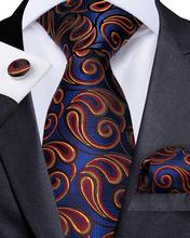 Men Tie Blue Yellow Paisley Necktie For Designer Set Hanky Cufflinks Fashion DiBanGu Business Wedding Party MJ-7180