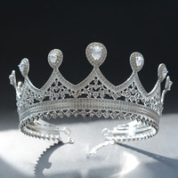 Woodqiqi Korean princess big crown wedding jewelry headdress European bride round crown headdress hair ornaments round crown