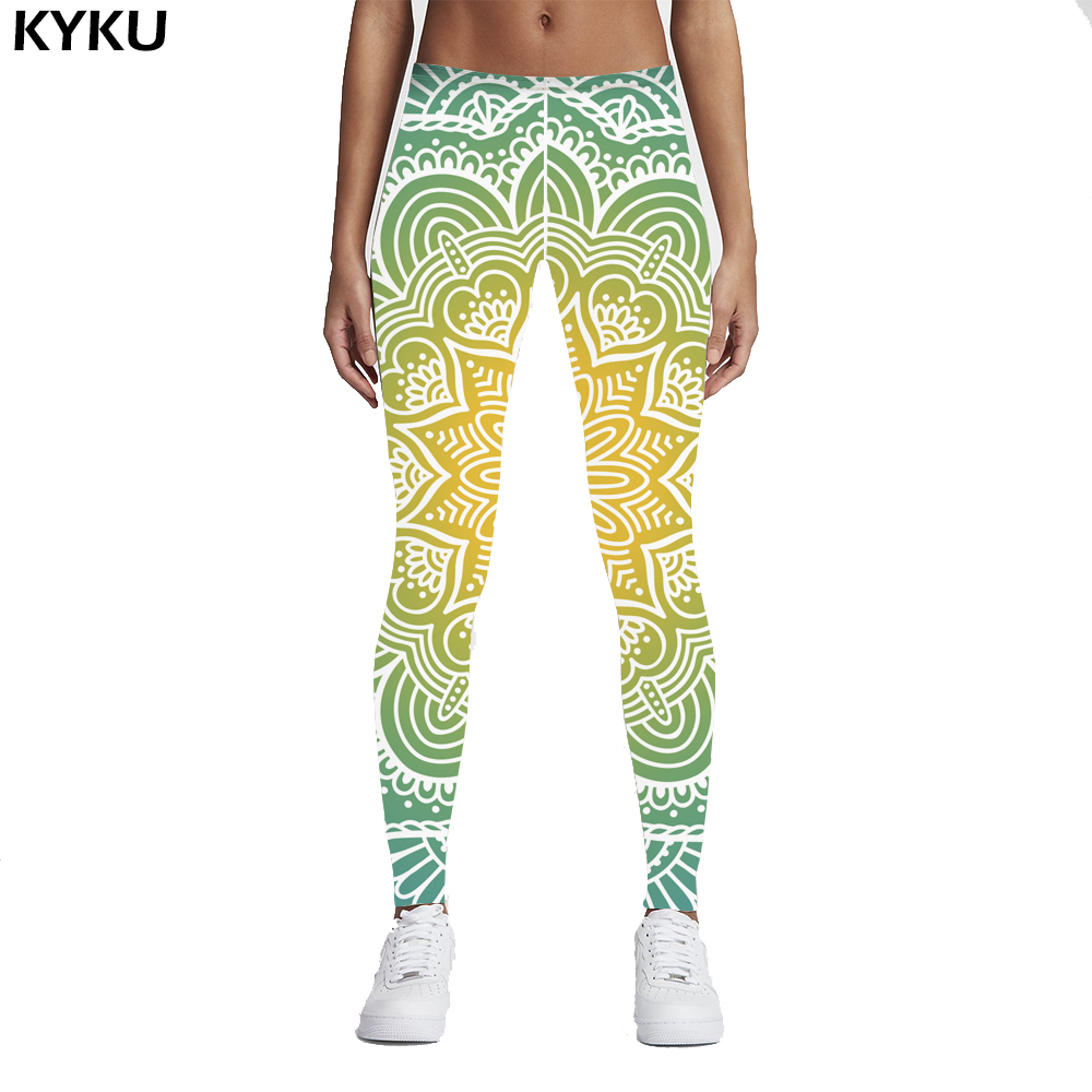 KYKU Brand 2017 New Fashion Women Legins Mandala Lights 3D Printing Sexy Legging High Waist Woman Leggings Green Fitness Pants