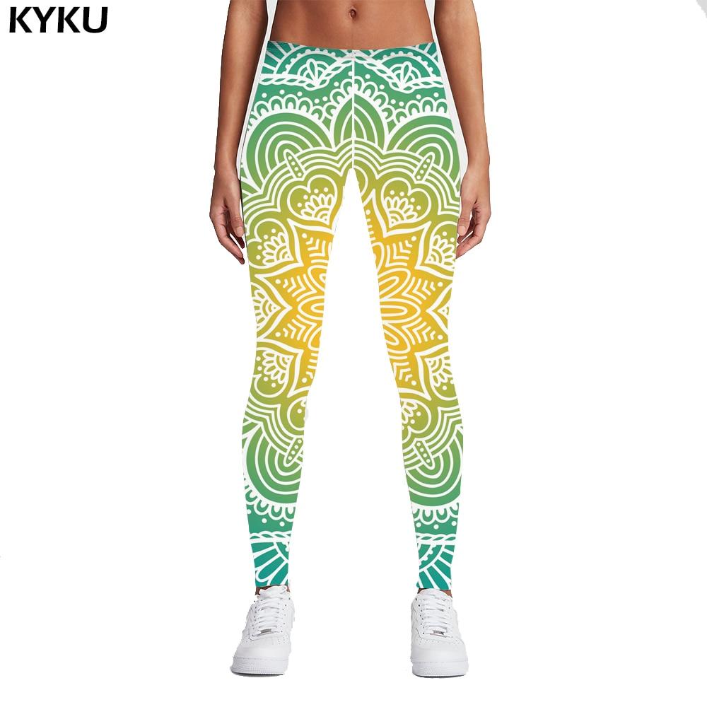 KYKU Brand 2017 New Fashion Women Legins Mandala Lights 3D Printing Sexy Legging High Waist Woman Leggings Green Fitness Pants