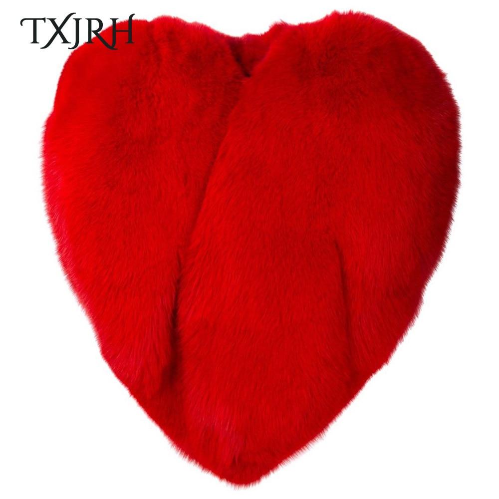 Épais Txjrh Celebrity Manteaux Fourrure D'amour Hiver 3d Coeur Red Tops Élégant Poilu Rouge Femmes Shaggy Cape De En Forme Faux Renard Longue Manteau Chaud UrwUqAxfp