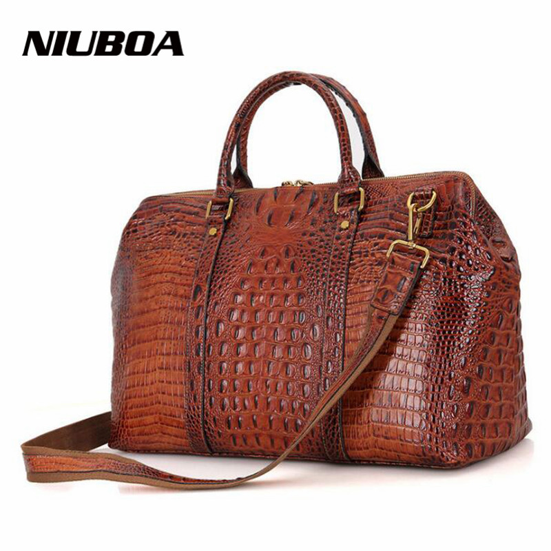 NIUBOA Fashion Genuine Leather Women Bag Top Big Casual Crocodie Pattern Shoulder Handbag Bag Natural Skin Shopping Cowhide Tote
