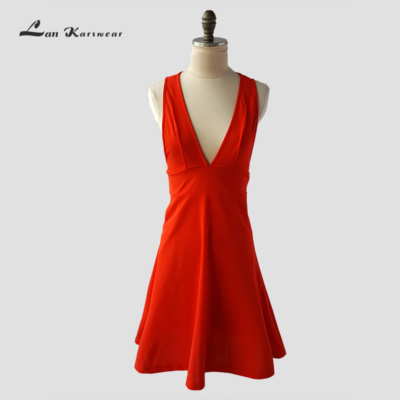 Lan Karswear 2.019 Women's Summer Sundress Dress Sexy Deep V-neck Sleeveless Party Dresses For Women Clothing Plus Size  Vestido