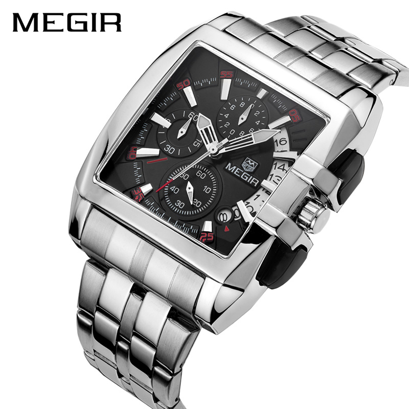 MEGIR Luxury Brand Men Watch Sport Waterproof Clock Full Steel Men s Quartz Chronograph Wristwatch Business