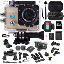 Экшн-камера SJ4000 про стиль Ultra HD 4 К Wi-Fi 1080 P/60fps 2.0 ЖК-дисплей 170 объектив шлем CAM Go Водонепроницаемая камера + монопод + дополнительную карту