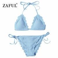 Zaful Bikini 2017 Scalloped Krawatte Seite String Bademode Welle rand Beachwear Brasilianischen Bikini Set Frauen Badeanzug Badeanzug
