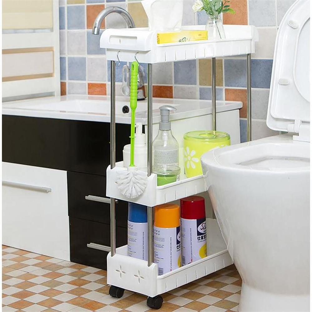 kitchen sandwich finishing rack Wheeled mobile toilet bathroom shelf refrigerator floor plastic storage rack shelf LM01111350