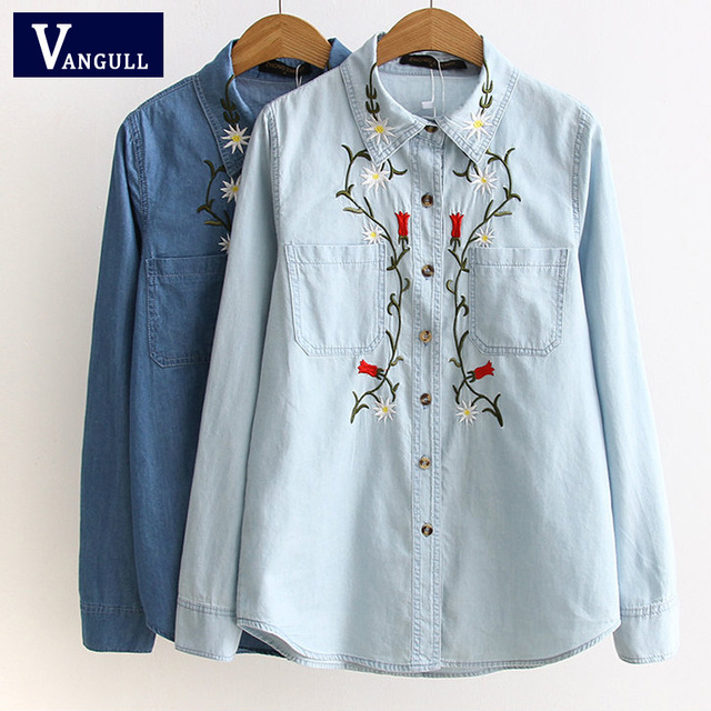 ... Spring new European and American fashion embroidery embroidery long  sleeves lapel Slim cowboy long sleeve shirt ...