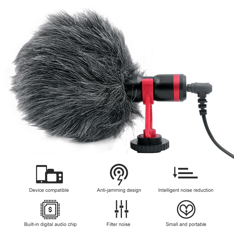 Camera Video Microphone RE-150 DSLR Recording Microphone For SLR Photography  Vlog Microphone IPhone 7 6 Andriod Smartphone