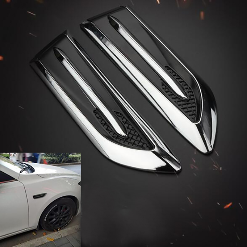 1 Pair Shark Gills Car Decorated 3D Vent Air Flow Fender Sticker Decal Automobile Engine Cover Side Stickers 2pcs car shark gills exterior decor side air intake flow grille vent outlet decorative car modification for vaz lada largus