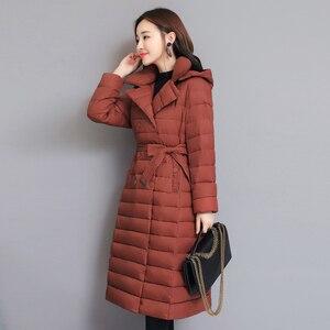 Image 3 - 2020 skręcić w dół kołnierz kurtka zimowa kobiety wyściełane piersi przyciski grube panie Casual długa Parka znosić kobiet jednokolorowy ciepły płaszcz