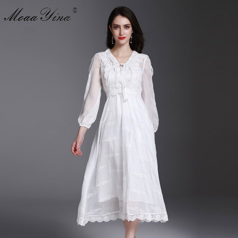 MoaaYina Fashion Designer Runway Dress Summer Women 3/4 sleeve V collar Lace-up Hollow Out Embroidery Casual elegant Slim Dress 2017 autumn designer runway style party lace women allover hollow out lace embroidery long sleeve dark blue mermaid dress festa
