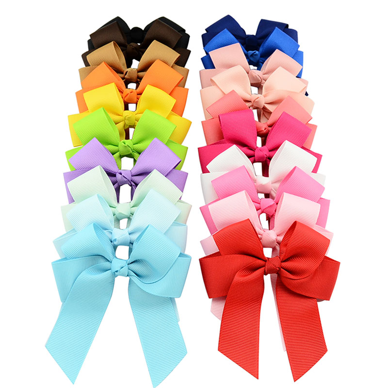 цена на 2017 High Quality 20 colors Solid Grosgrain Ribbons Cheer Bow With Alligator Hair Clip For Girls Boutique Hair Accessories