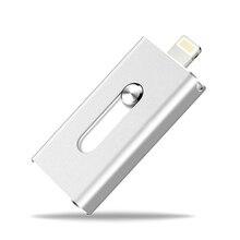 Más nuevo 3 en 1 OTG Flash Drive 128 gb de memoria de almacenamiento mini metal usb pen drive para dispositivos de apple android de windows pc equipo