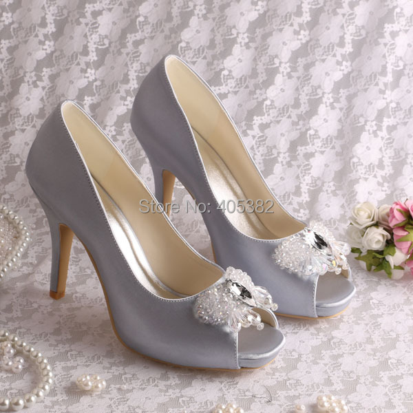 (20 Colors)Custom to Make Grey Satin Diamond Decoration Shoes Wedding Bride High Heels